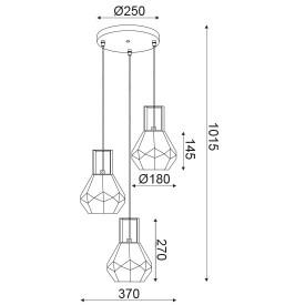 CORP SUSPENDAT ACA LIGHTING V371483PA METAL AURIU LUCIOS STICLA AMBRA E27