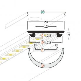Profil LED aparent ARC 12, aluminiu, lungime 2m