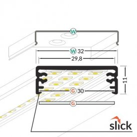 Profil LED aparent WIDE 24, negru, lungime 2m