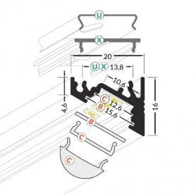 Profil LED de colț CORNER 10, aluminiu anodizat, lungime 2m