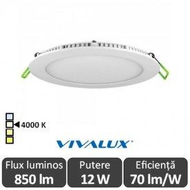 Vivalux Panou ESTE LED Rotund 12W CL/W 4000K Alb