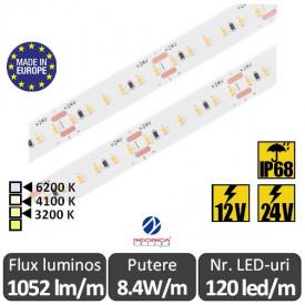 Bandă LED flexibilă SMD2216 8.4W/m IP68 120led/m 12-24V