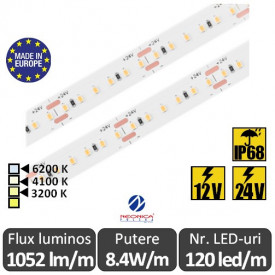 Bandă LED flexibilă SMD2216 8.4W/m IP68 120led/m 12-24V