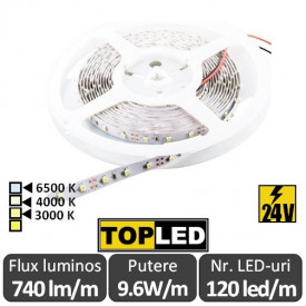 Bandă LED flexibilă - SMD3528 9.6W/m 24V 120led/m rolă 5m alb-cald sau neutru