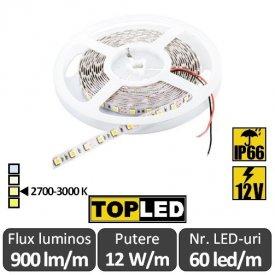 Bandă LED flexibilă - SMD5050 12W/m 12V IP66 rolă 5m alb-cald