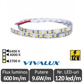 Bandă LED flexibilă - Vivalux BAND SMD2835 9.6W/m 12V 120led/m rolă 5m alb-cald/neutru sau rece