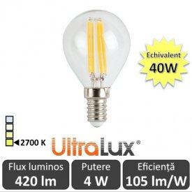 Bec LED Filament lustră 4W E14 230V P45 alb-cald