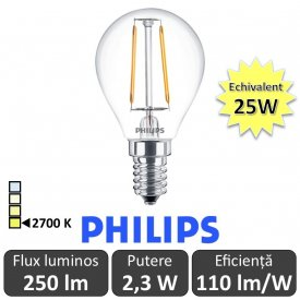 Bec LED Philips - Classic Filament LED 2,3W P45 E14 827 alb-cald