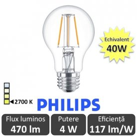 Bec LED Philips - Classic Filament LED 4W A60 E27 827 alb-cald