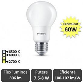 Bec LED Philips - CorePro LED bulb 7.5-8W -60W A60 E27 alb-cald/alb-neutru sau rece