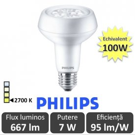 Bec LED Philips - CorePro LED spot MV 7W R80 230V E27 alb-cald