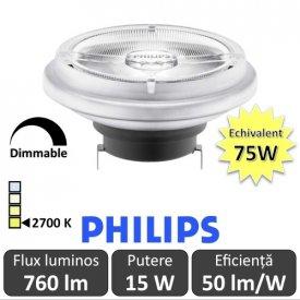 Bec LED Philips - MASTER LEDspot LV AR111 D 15-75W 24D 927 alb-cald