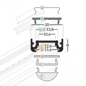 Profil LED aparent SURFACE 10, alb, lungime 2m