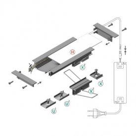 Profil LED încastrat FLAT 8, aluminiu anodizat, lungime 2m