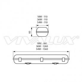 Vivalux Corp Iluminat Industrial cu Led Rezistent la Apa 4000K Alb-Neutru 18W