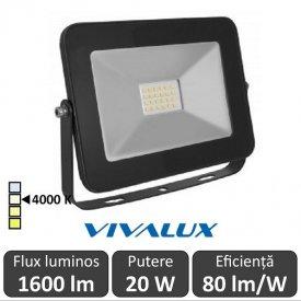 Vivalux - Proiector TREND LED de Exterior 20W IP65 4000K Alb-Neutru Culoare Negru