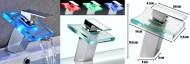 Torneira Cascata em Vidro (LED Multi-Color) Acabamento Cromado