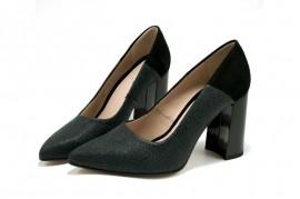 Pantofi negri cu striatii din piele naturala M Shoes