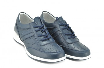 Pantofi albastri din piele naturala Lorena