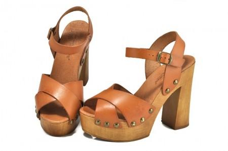 Sandale maro deschis piele naturala Iria