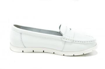Pantofi albi din piele naturala Clare