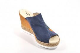 Sandale albastre Myltho, cu platforma, din piele naturala
