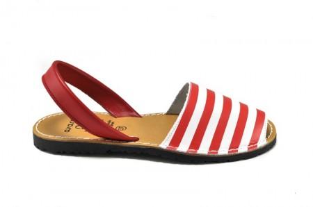 Sandale Avarca Red Stripes, din piele naturala