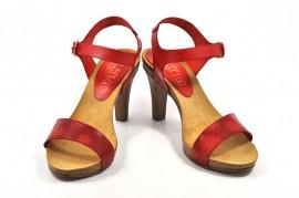 Sandale rosii Abril Flowers, din piele naturala