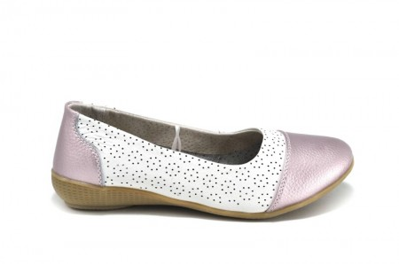 Balerini alb cu roz din piele naturala Greta
