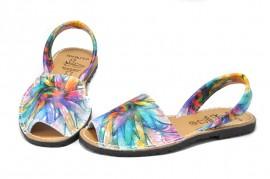 Sandale Avarca multicolore-Lotus, din piele naturala