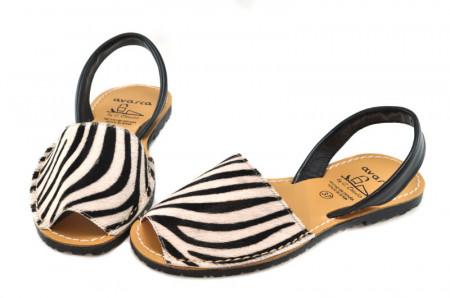 Sandale Avarca Pony albe, piele naturala