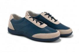 Pantofi albastri din piele naturala TOPWAY
