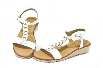 Sandale albe In shoes, din piele naturala