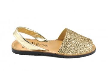 Sandale Avarca Glitter auriu, din piele naturala