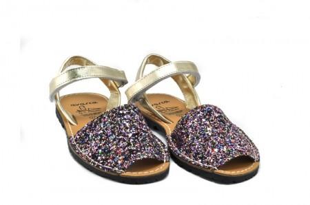 Sandale copii Avarca Glitter multicolor, din piele naturala