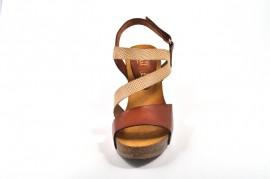 Sandale maro deschis aurii Abril Flowers, din piele naturala
