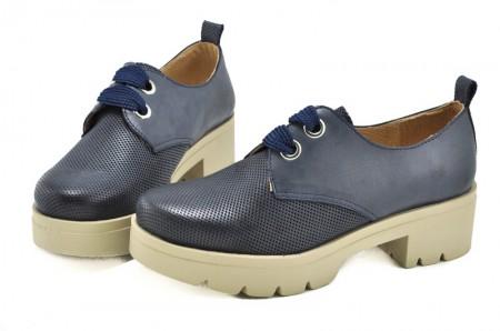 Pantofi albastri din piele naturala Jean