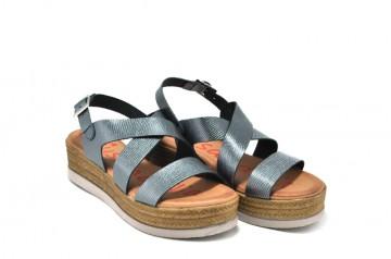 Sandale gri metalizat Xusandalia, din piele naturala