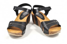 Sandale negre Abril Flowers, din piele naturala