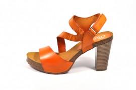 Sandale portocaliu Abril Flowers, din piele naturala
