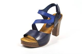 Sandale albastre Abril Flowers, din piele naturala