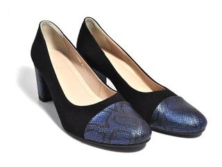 Pantofi negri cu imprimeu albastru din piele naturala