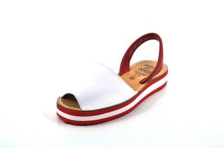 Sandale Avarca albe, cu platforma, din piele naturala