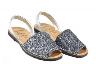 Sandale Avarca Glitter argintiu, piele naturala