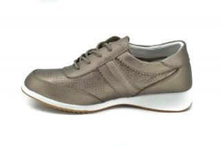 Pantofi aurii din piele naturala Lorena