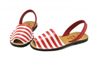Sandale Avarca Red Stripes, din piele naturala