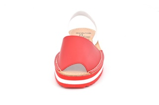 Sandale Avarca rosii, cu platforma, din piele naturala