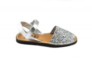 Sandale copii Avarca Glitter argintiu, din piele naturala