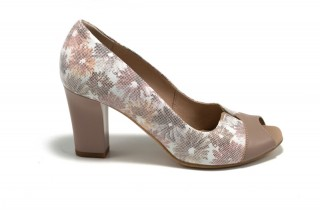 Pantofi bej cu motive florale din piele naturala M Shoes