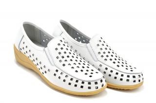 Pantofi albi din piele naturala Coralia